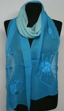Gothic Astro Scarf Stole Sun Moon Stars Turquoise Embroidered Transparent NEW