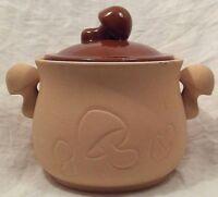 Vtg Oven Proof Bean Pot Mushroom Terra Cotta Roaster Japan 70s George Imports