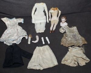 Assorted ANTIQUE Dollhouse Doll Parts & Clothing