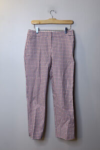 Boden Women's Size 6 Pants Houndstooth Plaid Navy Blue Coral Peach Flat Front