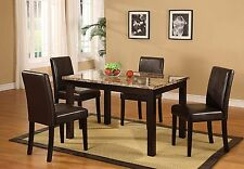 5pc Roundhill Furniture Briden Dark Artificial Marble Top Dinette Dining Set New