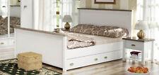 Landhaus Schlafzimmer Set Doppelbett 180x200cm weiß / Sanremo Eiche 720375