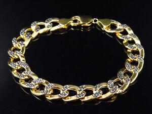 Men's 10K 2 Tone Gold Hollow Flat Curb Cuban Style Bracelet 10.5MM
