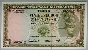 Ek // BILLET  20 escudos Timor Portuguaise 1967 Regulo Aleixo UNC