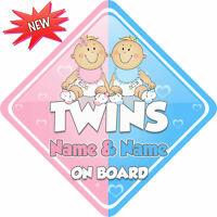 Bébé Sur Board Signe Jumeaux à Bord Voiture Signe un de chaque Ventouse Voiture Signe