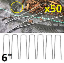 50pcs 6inch Galvanized Ground Garden Staples Stakes Pins Landscape Weed Fabric
