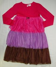 Hanna Andersson Dress 150 cm Tulle Tiered Skirt Pink Brown Long Sleeve B34
