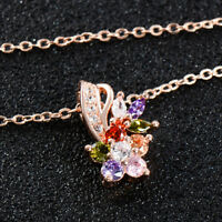 Fashion Women Colorful Crystal Dangle Pendant Choker Chain Necklace Jewelry