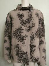 ROBERT KITCHEN Cardigan Sweater Jacket Gray Wool Blend Snap Button Mock Neck XL