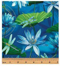 Dance of Dragonfly Fabric - Waterlily Pond Blue Green - Benartex YARD