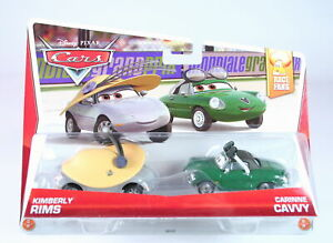DISNEY CARS Race Fans 2 pack KIMBERLY RIMS + CARINNE CAVVY 1:55 diecast toys NEW