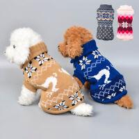 Xmas Puppy Pet Dog Winter Warm Knit Jumpsuit Sweater Coat Vest Jacket Clothes