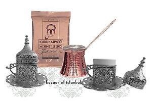Silver Turkish Coffee Espresso Set: 2 Cups, Cezve Pot, Coffee, Copper, Porcelain