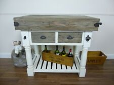 Farmhouse Butchers Block Bench in a White & Weathered Oak Finish