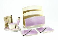 Stunning Gold plated Sterling Silver Amethyst Guilloche Enameled Desk Set c1900