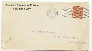 US 1909 Corner Adv Cover #367 Lincoln NY to Rockaway Beach Barry Machine Cancel