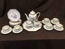 Raynaud Limoges Amphitrite Blue Tea Service for 6 Teapot Tray Salad Plate Sugar