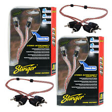 Two (2) Stinger SI421.5 RCA Interconnect Audio 1.5ft Cable for 4-Channel Install