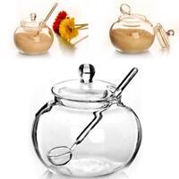 Glass Jar Sugar Cookie Bowl Lid Spoon Transparent Candy Home Kitchen Storage 1x