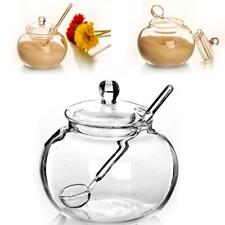 Glass Jar Sugar Cookie Bowl Lid Spoon Transparent Candy Home Kitchen Storage 1x