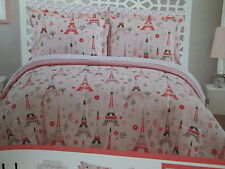 # Bedtime PARIS Eilffel Tower Floral Full Comforter, Shams & Sheets Set ~ Pink