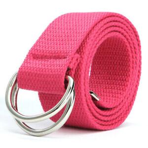 Mens Womens Stretchy Braided Woven Canvas Elastic Waist Belt Buckle Waistband