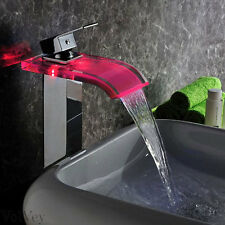 """11"""" LED Waterfall Bathroom Faucet Chrome Water Flow One Handle/Hole Vessel Tap"""