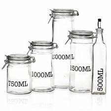 Air Tight Large Glass Storage Jar With Metal Clamp Lid Tall Kitchen Cruet Set (one of Each)