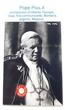 Saint POPE PIUS X relic card of patron of Iowa, first communicants; pilgrims