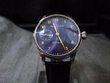 Parnis Pilot Aviator Watch 6498 Hand Winding Mechanical Sub Second Blue Radiant