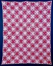"Antique, Red & White, ""Winding Ways"" Pieced Quilt, Cotton, Ohio, c. 1900-1920..."