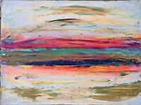 """Original Abstract Art 24""""x18"""" Signed Acrylic Painting on Canvas Southern Sunset"""