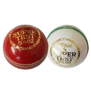 Maxx Quality 5 1/2 Oz Cricket Balls Red & white Hand Stitched Leather Hard Ball