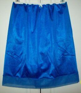 """ROYAL BLUE Nylon Tricot SLIP 6"""" SLEEVE PANTY Sheer Hem * 24-38 Waist * Length 21"""