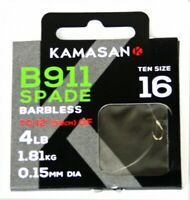 KAMASAN B911 EX BARBLESS X-STRONG HOOKS TO NYLON HAIR RIGGER BANDS ALL SIZES