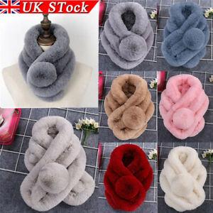 Faux Fur Collar Scarf Stole Wrap Scarves Shawl Women Ladies Winter Warm Fluffy ~