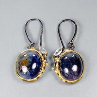 Blue Sapphire Earrings Silver 925 Sterling Handmade  /E38491
