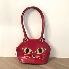 Cat Face Girls Purse HandBag Red Leather