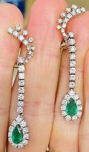 Vintage Estate Emerald & Diamond 4.Ct 14k White Gold Over Drop Dangle Earrings