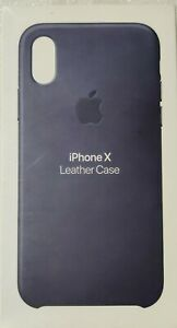 Genuine Original Official Apple iPhone X  Leather Case Midnight Blue