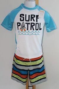 Gymboree Boys Boy Swim Suit Bottoms Trunks Rash Top NWT Size 5-6 Set Shark Surf