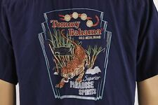 Tommy Bahama Embroidered Blue 100% Silk Shirt Tiger Gold Brand Spirits Size XXL