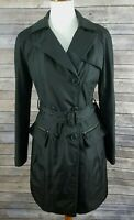 Andrew Marc New York Women's XS Black Trench Coat Jacket Belted Lined