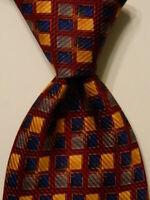 J.Z. RICHARDS Men's 100% Silk Necktie USA Designer Geometric Red/Blue/Yellow EUC