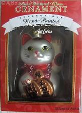 Asian MANEKI NEKO Cat XMAS ORNAMENT New NIB Lucky Fortune Kitty w/ Glitter Japan