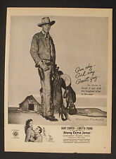 1945 Gary Cooper~Loretta Young (Norman Rockwell) Along Came Jones Movie Art Ad