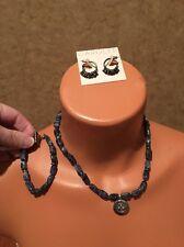 Carolee Blue Stone Necklace Bracelet Earrings Net Lot Set Gunmetal