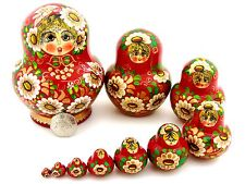 Russian HAND PAINTED nesting dolls 10 RED GOLD DAISY Matryoshka AYMASOVA signed