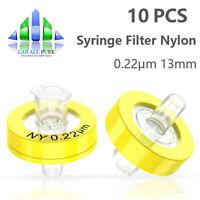 10pcs Nylon Syringe Filter Diameter 0.22μm Pore Size 13mm Hydrophilic HPLC GC