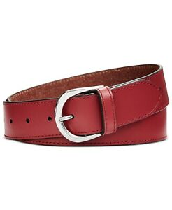 NEW Calvin Klein Smooth Leather Belt - Barn Red/Nickle NWT $48 SMALL